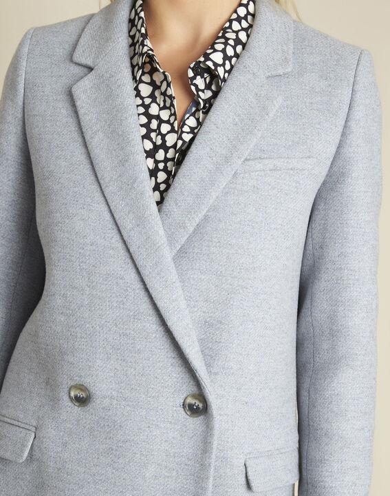 Hemelsblauwe gekruiste mantel van wol Eclat (3) - 37653