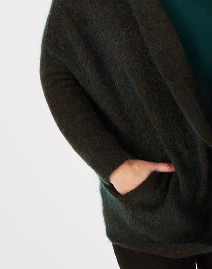 Waldgrüne lange Jacke aus Mohair und Wolle Patchouli (3) - 1-2-3