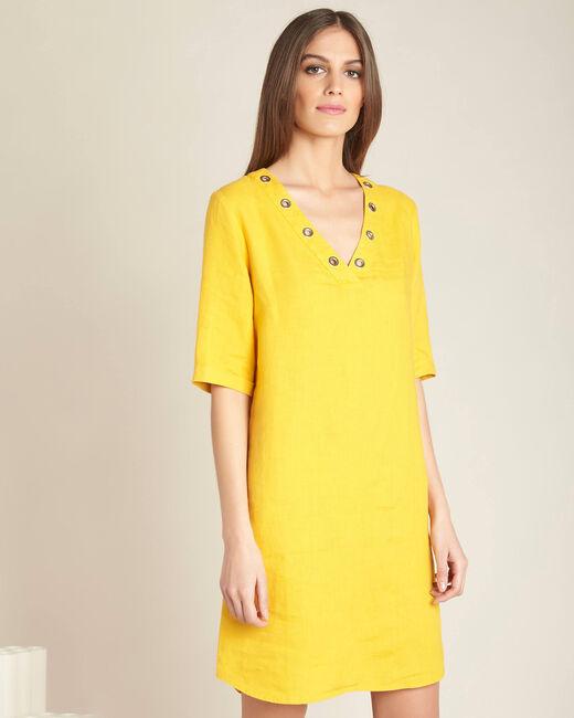 Pavot linen yellow dress (2) - 1-2-3