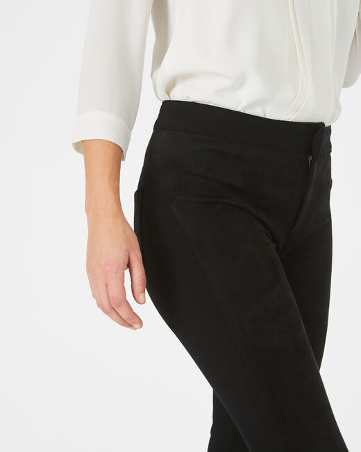 Katia slim-cut black trousers, cut from milano and suede (1) - 1-2-3
