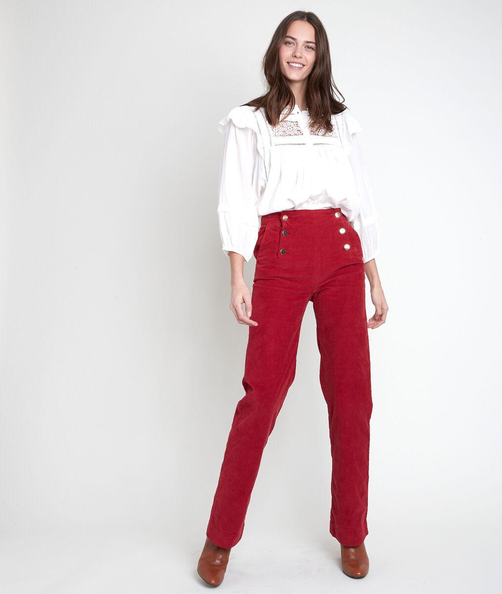 Pantalon à pont en velours rouge Hubert PhotoZ | 1-2-3