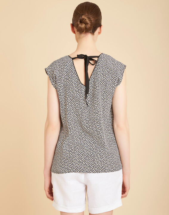 Miledine printed V-neck blouse with bow on the back (4) - 1-2-3