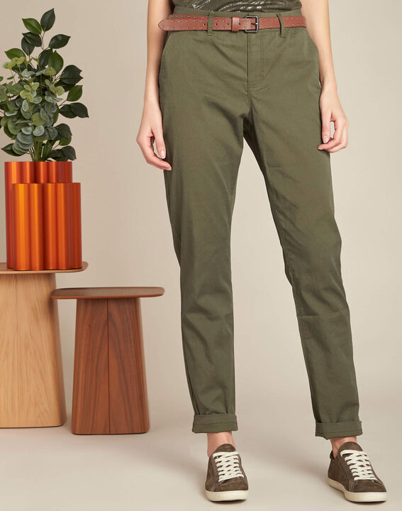 Pantalon slim kaki coton 7/8 Francis (3) - 1-2-3