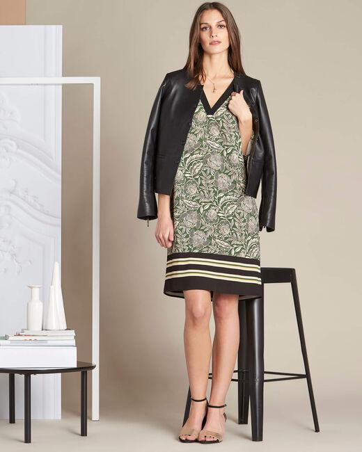 Khakifarbenes Kleid mit Blumenprint Parfaite (1) - 1-2-3