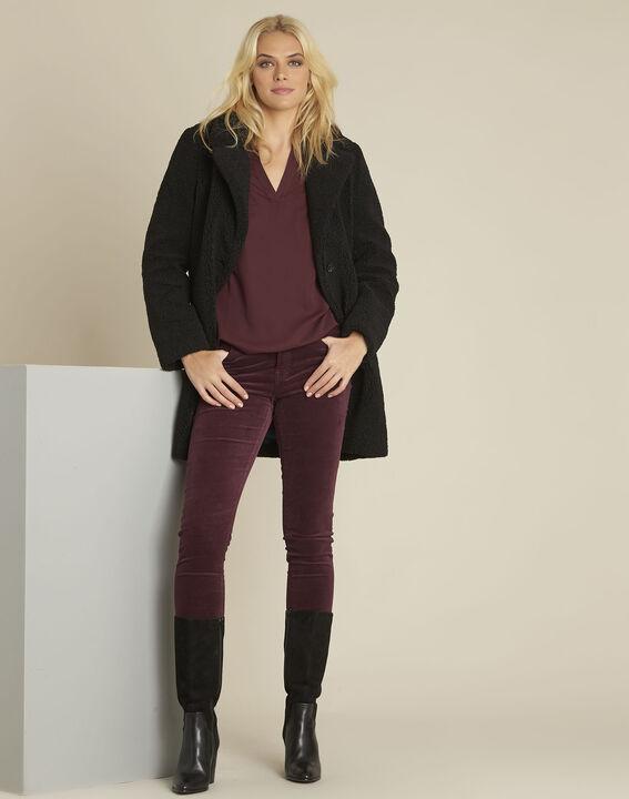 Bianca Bordeaux bi-material blouse with a V-neck (2) - 1-2-3