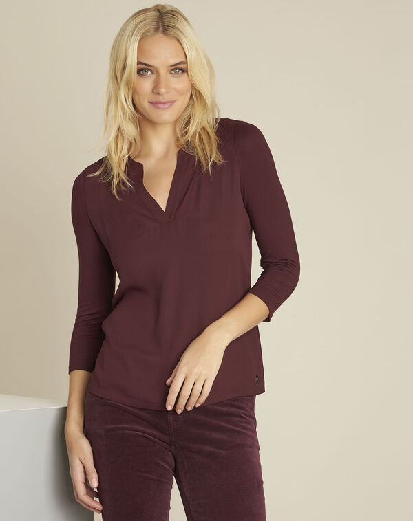 Bianca Bordeaux bi-material blouse with a V-neck (1) - 1-2-3