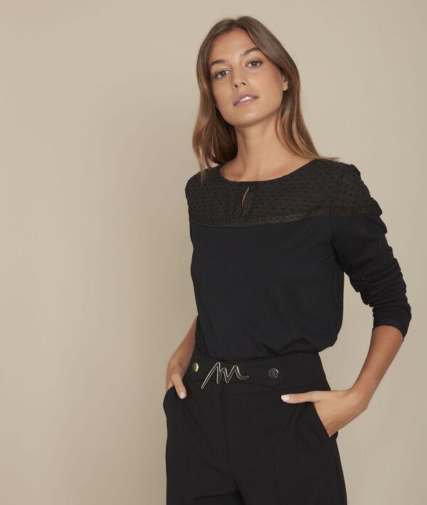 Tee-shirt encolure dentelle noir Chiara PhotoZ | 1-2-3