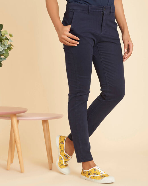 Valentin navy chino trousers in a satin cotton mix (2) - 1-2-3