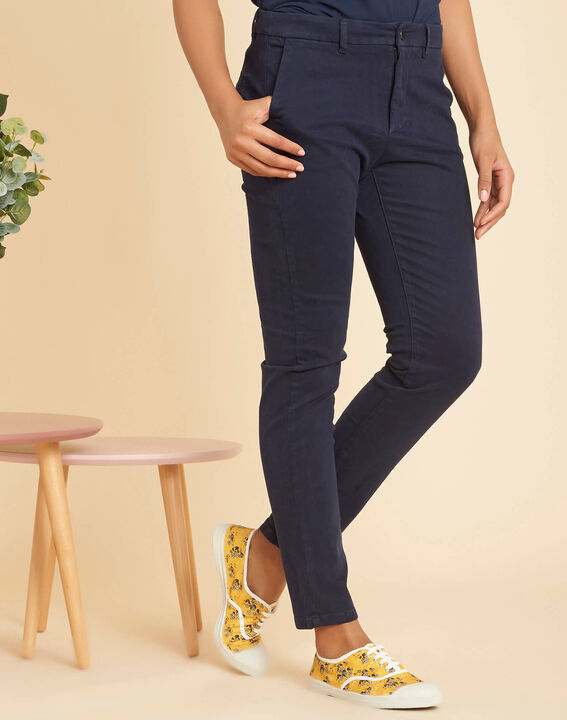 Valentin navy chino trousers in a satin cotton mix (3) - 1-2-3