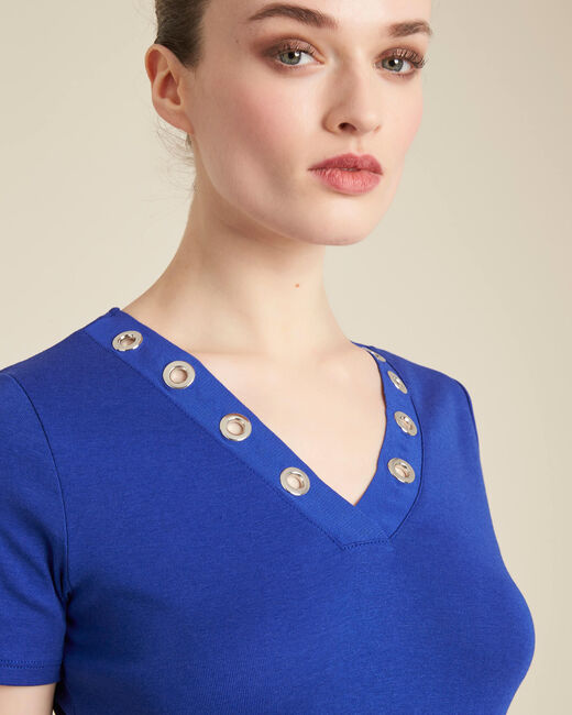 Königsblaues T-Shirt mit Ösen-Ausschnitt Basic (1) - 1-2-3