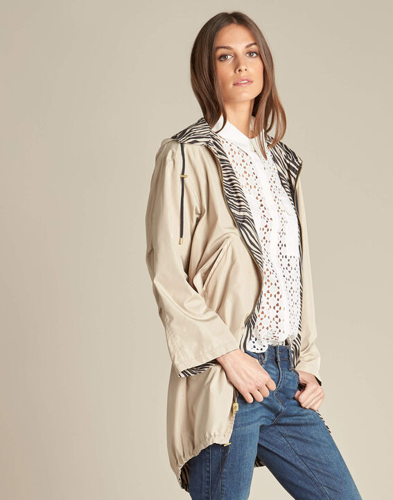 Fiona mid-length beige reversible parka (3) - 1-2-3