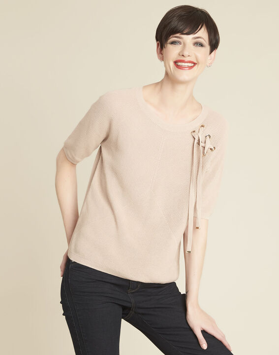 Boreale pink sweater with lacing and eyelets PhotoZ | 1-2-3
