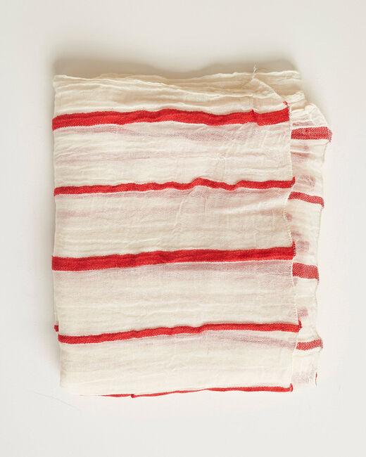 Aro ecru scarf with red stripes (1) - 1-2-3