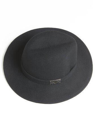 Uliette black wool hat with band black.