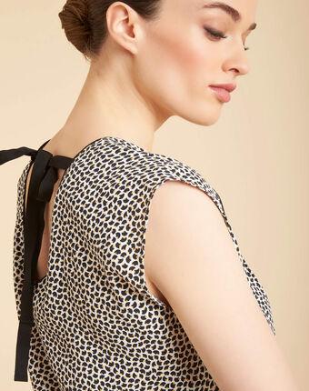 Miledine printed v-neck blouse with bow on the back black/white.