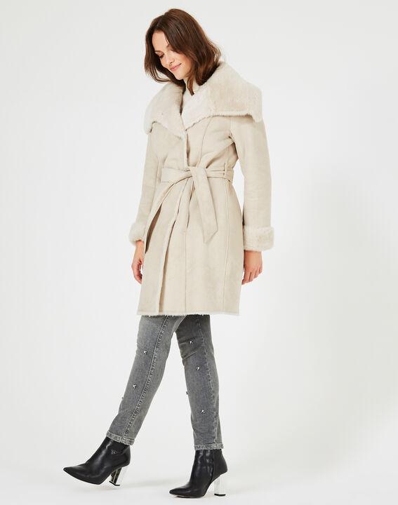 Manteau ficelle mi-long en peau lainée Lina (4) - 1-2-3