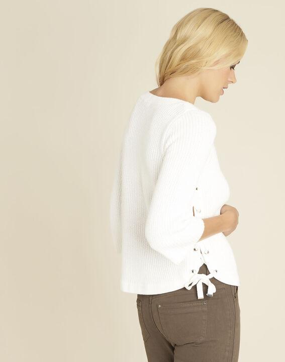 Naturweißer Pullover mit seitlichen Schnürdetails Becot (4) - 1-2-3