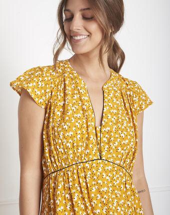 Robe jaune imprimée lemon bouton d`or.