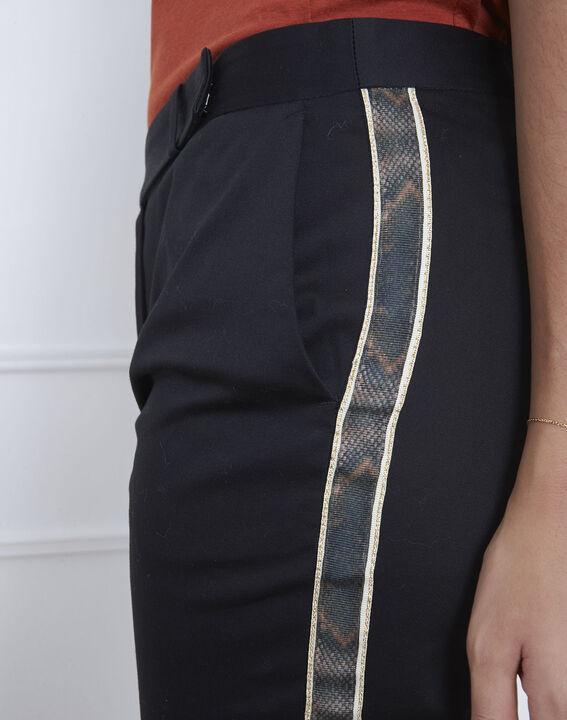 Pantalon noir bande imprimé serpent Rubis (3) - Maison 123