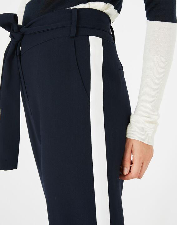 Pantalon bleu marine fluide bande côté Kamelia (3) - 1-2-3