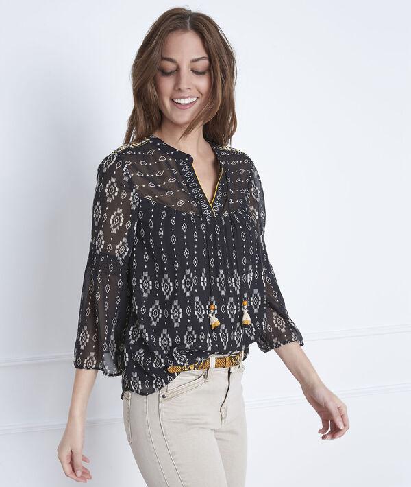 Zwarte blouse met fantasiemotieven Victoria PhotoZ | 1-2-3