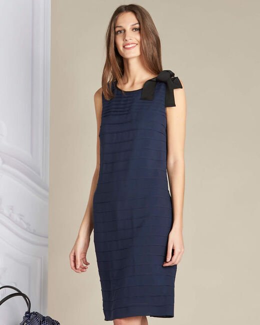 Ines silk navy dress with frilled detailing (2) - 1-2-3