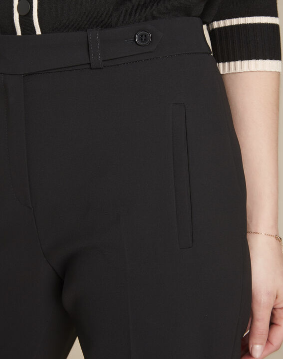Lara black slim-cut microfibre trousers (3) - 1-2-3