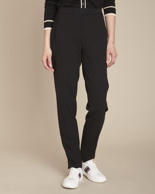 Lara black slim-cut microfibre trousers (2) - 1-2-3