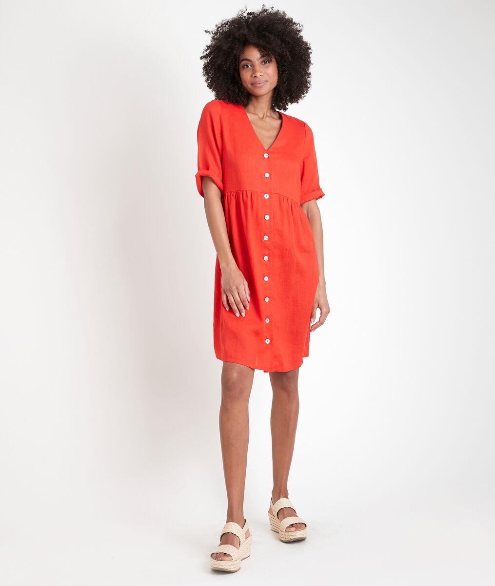 Robe en lin certifié boutonnée rouge Lalou PhotoZ | 1-2-3