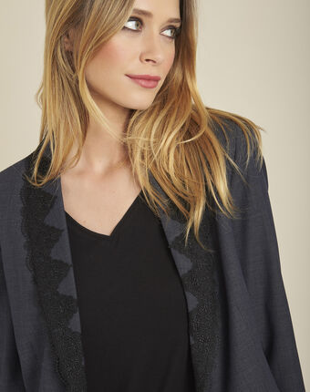 Demoiselle fitted jacket in anthracite grey with embroidery dark grey.