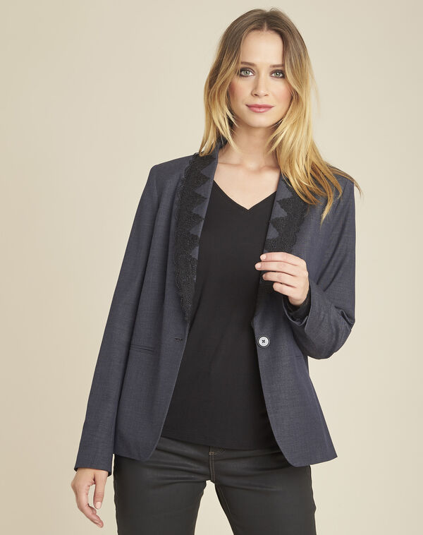 Demoiselle fitted jacket in anthracite grey with embroidery (2) - 1-2-3