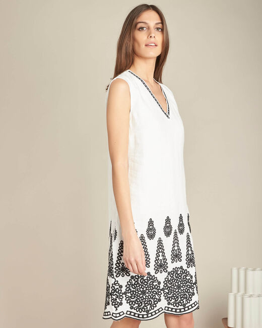 Pia cream embroidered dress in linen (2) - 1-2-3