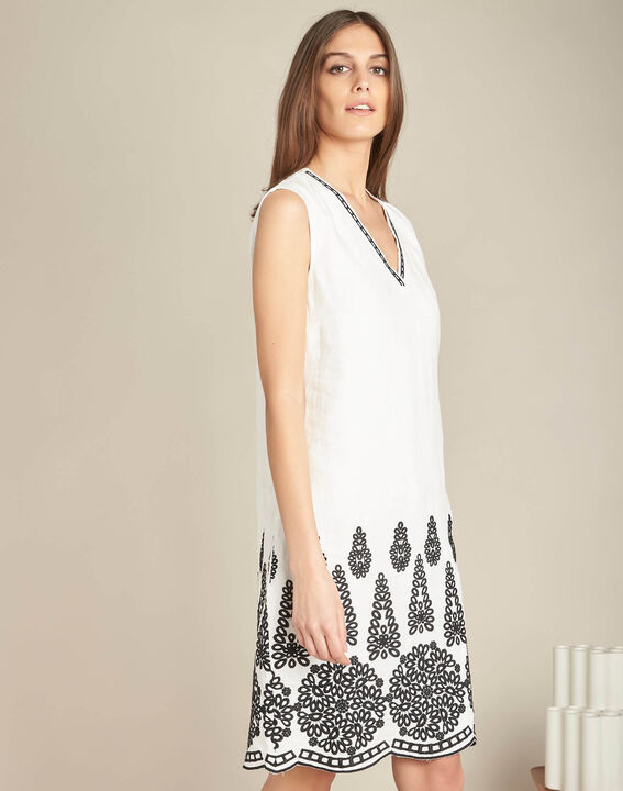 Pia cream embroidered dress in linen (3) - 1-2-3