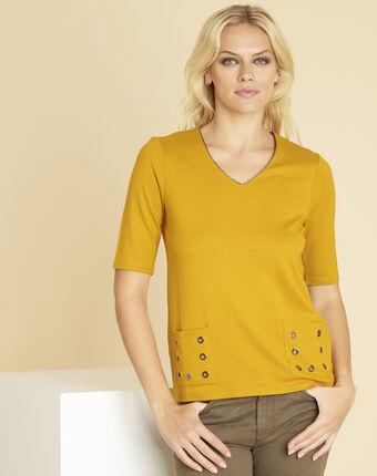 Gelbes t-shirt mit ösendetails an den taschen goeland sonnengelb.