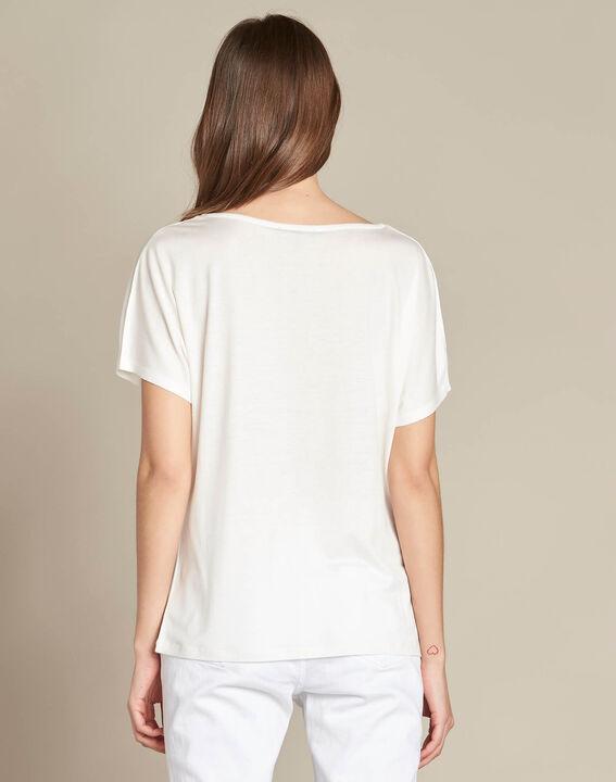 Ecrufarbenes T-Shirt mit Stickerei Elga (4) - 1-2-3