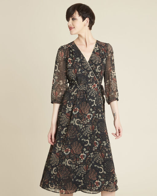 Robe noire imprimé fleuri portefeuille Damaris (1) - 1-2-3