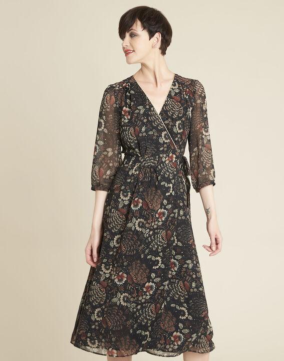 Robe noire imprimé fleuri portefeuille Damaris PhotoZ | 1-2-3