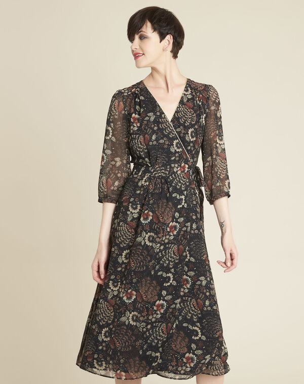 Damaris black wrap-over dress with floral print (1) - 1-2-3