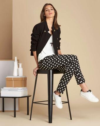 Valero polka dot tapered trousers black/white.