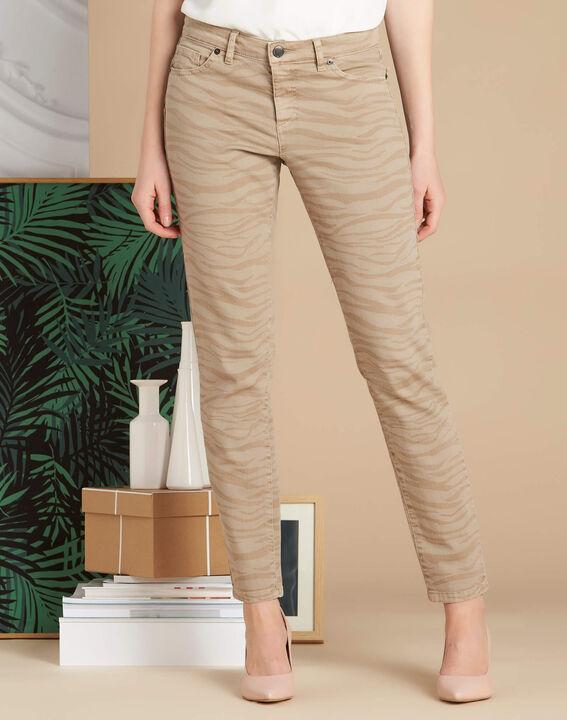 Beigefarbene Slim-Fit-Jeans mit Zebra-Print Passy (3) - 1-2-3
