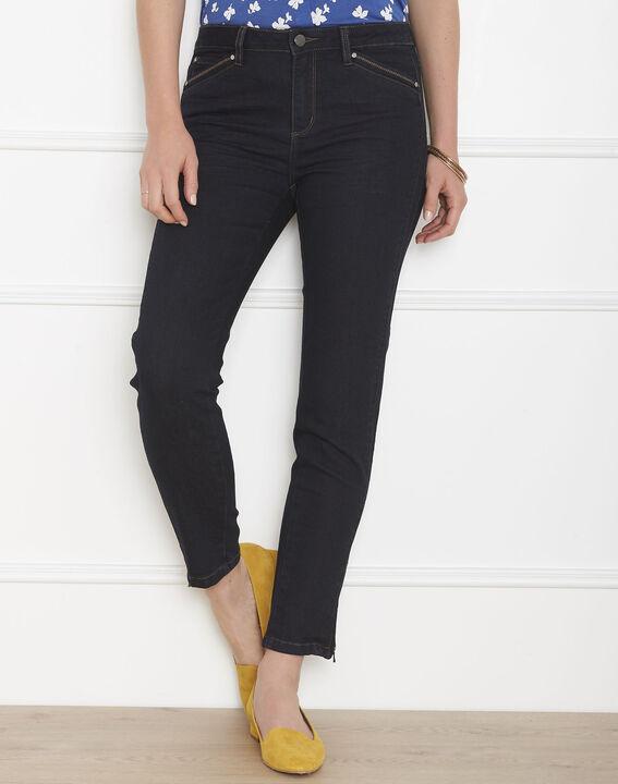 Schwarze 7/8 Slim-Fit-Jeans mit Reißverschlüssen Opéra (1) - 1-2-3