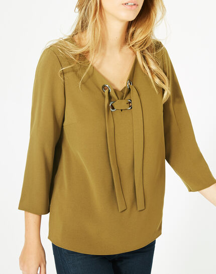Domino olive blouse with V-neck (3) - 1-2-3