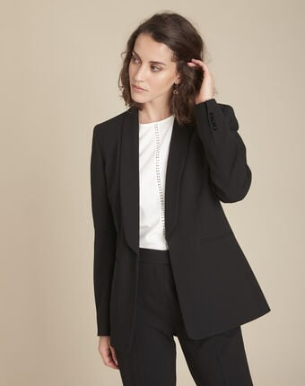 Stella black jacket with cowl microfibre neckline black.