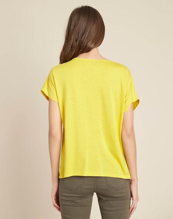 Tee-shirt jaune bimatière col tunisien Gaia (4) - 1-2-3