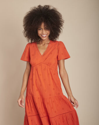 Robe orange longue broderie anglaise lima orange.