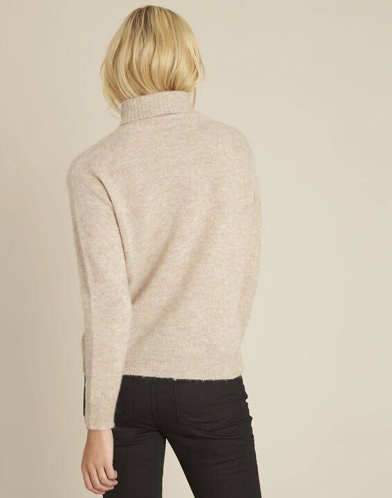 Bronze beige turtleneck alpaca mix pullover (4) - 1-2-3