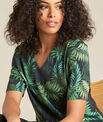 Miledine palm tree print dual-fabric blouse PhotoZ   1-2-3