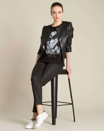 Schwarzes t-shirt mit schloss-print enamorar schwarz.