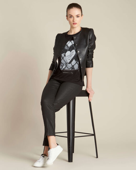 Tee-shirt noir imprimé cadenas Enamorar (1) - 1-2-3