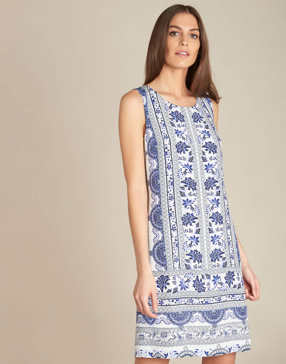 Pistil navy blue printed dress in silk (3) - 1-2-3